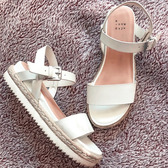 White Espadrille Sandal With Heel